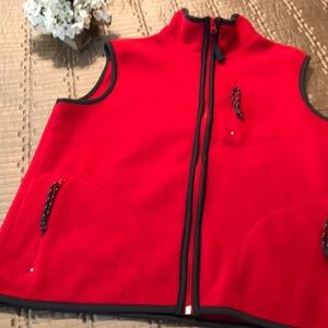 Old Navy vest, red and black fleece, size M